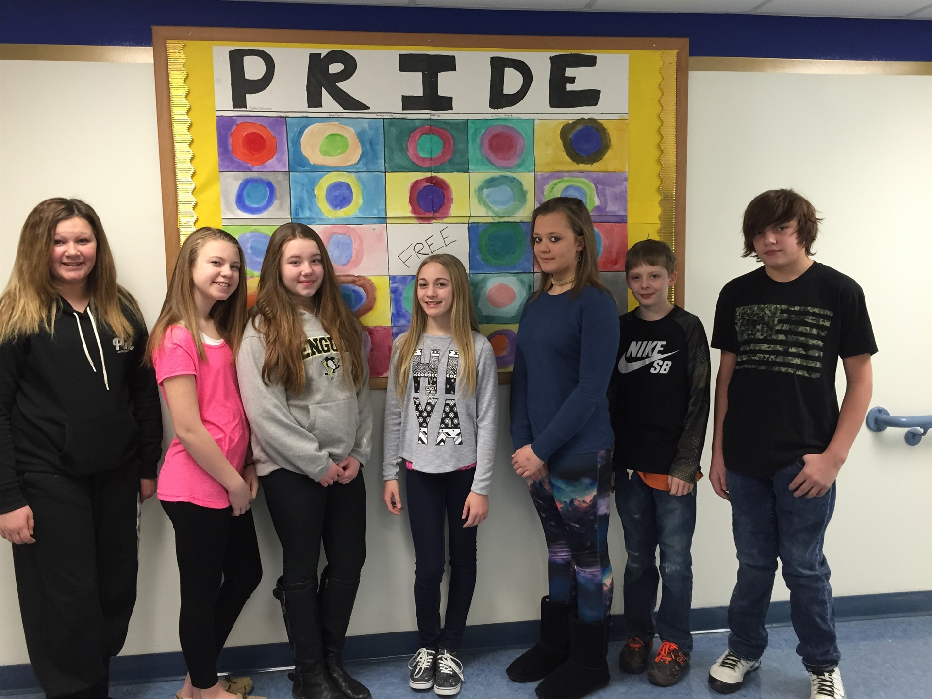 PRIDE Bingo painted by 6th grade art students!